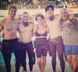 Pilar Stella Ingargiola                              with her surf friends.