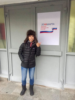Amy Yu at a ballot site in                               Russia                              ​​                                                                  [6]                                                               ​