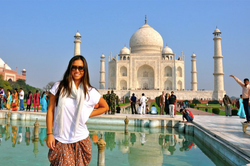 Photo of Amy Yu at the                               Taj Mahal                              ​ in                               India                              ​                                                                  [6]                                                               ​