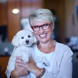 Lisa Short                              with her dog.