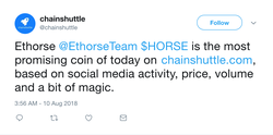Tweet by Chainshuttle about their top token of the day.