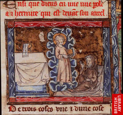 Christ appears to a hermit in a vision, holding a book containing the true history of the Holy Grail. From History of the Holy Grail, French manuscript, early 14th century