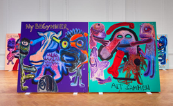 Installation view of Bjarne Melgaard's 'Bodyparty (Substance Paintings)' at Galerie Thaddaeus Ropac, London