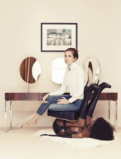 Dasha Zhukova sitting on Melgaard's chair