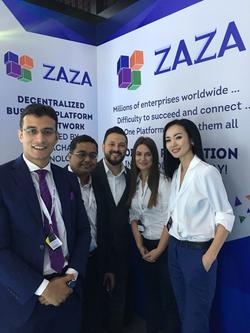 ZAZA team in Future Blockchain Summit, Dubai, May 2018. From left to right: Seif Abd El Rahman, Parag Bhadra, Saul Tarazona, Loredana Manushaqa, Zhazira Lepess