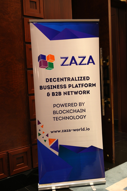ZAZA's stand in Blockchain Disruption Meetup, Dusit Thani, Dubai, August 2018