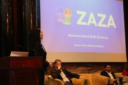 Founder Zhazira Lepess presenting ZAZA