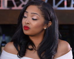 Wearing red lipstick