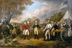 British general John Burgoyne surrenders at Saratoga in 1777.