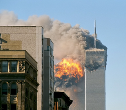 United Airlines Flight 175 hits the South Tower of the original World Trade Center in Lower Manhattan on September 11, 2001.