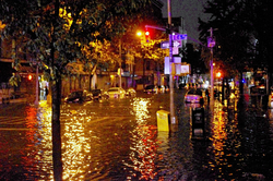 Flooding on Avenue C in Lower Manhattan, caused by Hurricane Sandy on October 29, 2012.[7]