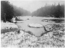 The hydrologic source of the Hudson River is near or at Lake Tear of the Clouds, a small tarn in the Adironacks, photo circa 19th-century.