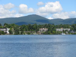 Mirror Lake in the Village of Lake Placid in the Adirondacks, site of the 1932 and the 1980 Winter Olympics.