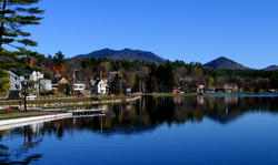 Lake Flower in the Village of Saranac Lake, nicknamed the Capital of the Adirondacks.