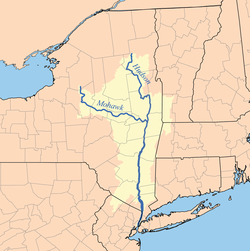 Map of the Hudson and Mohawk rivers.