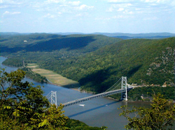 The Bear Mountain Bridge, spanning the Hudson River in the Hudson Valley.