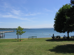 Skaneateles Lake, one of the eleven Finger Lakes, provides drinking water for the city of Syracuse and nearby areas in central New York.