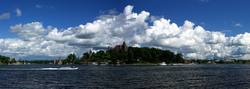 The Thousand Islands constitute an archipelago within the Saint Lawrence River. Boldt Castle, on Heart Island, is seen at center.