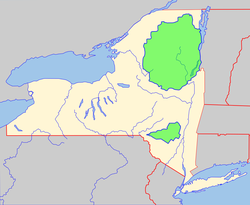 Two major state parks (in green) are the Adirondack Park (north) and the Catskill Park (south).