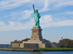 The Statue of Liberty in New York Harbor is a symbol of the United States and its ideals of freedom, democracy, and opportunity.