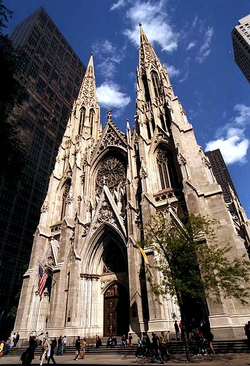 The landmark Neo-Gothic Roman Catholic St. Patrick's Cathedral, Midtown Manhattan.