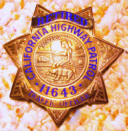 """CHP badge. This is for retired officer #11643. Active duty badges are exactly the same, with the """"Retired"""" banner not applied."""