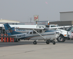 A CHP                                   Cessna 206                                  prepares to depart                                   Meadows Field Airport                                  ,                                   Bakersfield, California