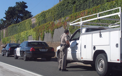 A CHP Officer on a                                 traffic stop