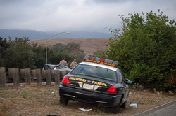 A CHP unit at the scene of an accident