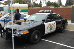 California Highway Patrol cruiser on display at Public Safety Day in                                 Lakewood, California                                .