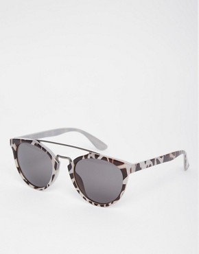 AJ Morgan Round Leopard Print Sunglasses with Metal Brow Bar