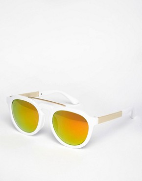 AJ Morgan Round White Sunglasses with Mirror Lenses and Brow Bar