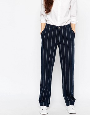 Bethnals Smith Pinstriped Relaxed Boyfriend Jeans With Rolled Hem