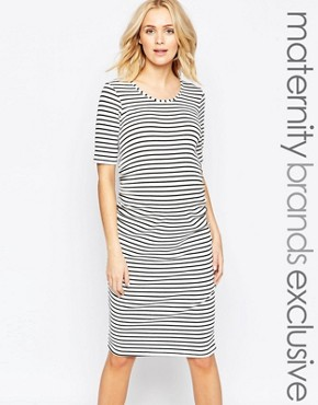 Bluebelle Maternity Striped Midi Dress