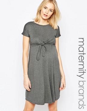 Bluebelle Maternity Nursing Knot Front Mini Dress