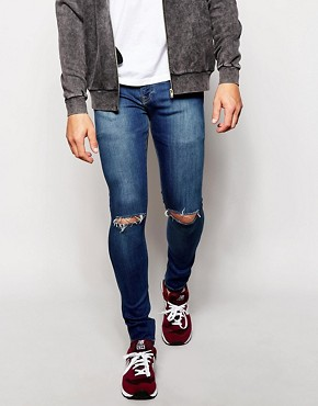 Brooklyn Supply Co Jeans Spray On Extreme Skinny Vintage Blue Ripped Knee