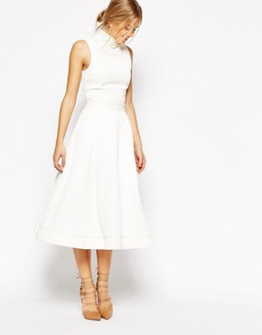 C/meo Collective Stay Close Full Midi Skirt in White