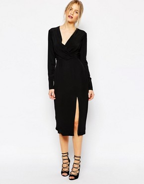 C/meo Collective Bedroom Wall Longsleeve Dress in Black