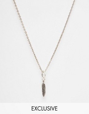 Chained & Able Feather And Ring Necklace In Silver