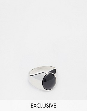 Chained & Able Stone Ring In Silver