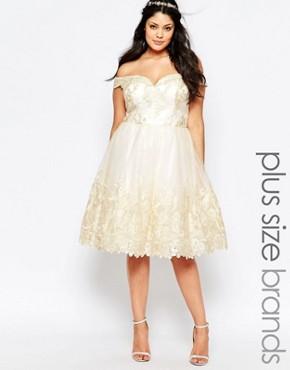 Chi Chi London Plus Lace Bardot Prom Dress