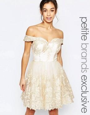 Chi Chi London Petite Bardot Lace Prom Dress