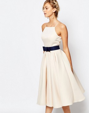 Chi Chi London High Neck Midi Prom Dress with Full Skirt