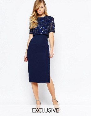 Frock and Frill Embellished Overlay Pencil Dress With Open Back And Split