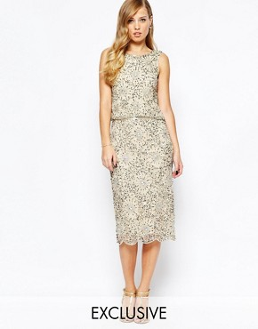 Frock and Frill Heavy Embellished Sparkle 2 In 1 Midi Dress
