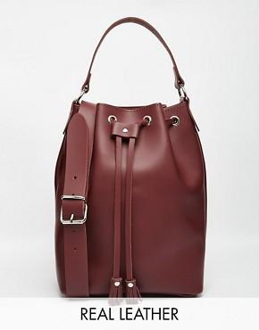 Grafea Duffle Bucket Bag in Oxblood Leather