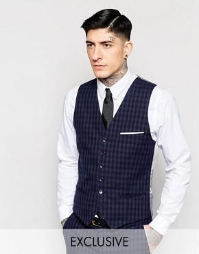 Heart & Dagger Tonal Check Waistcoat in Super Skinny Fit