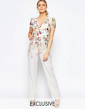 Hope and Ivy Wide Leg Jumpsuit In Ombre Floral Print