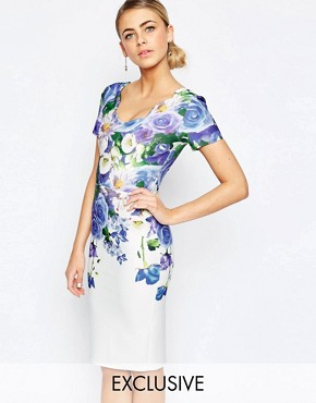 Hope and Ivy Floral Pencil Dress With Scallop Neck
