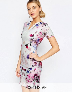 Hope and Ivy Pencil Dress In Mirrored Placement Floral Print